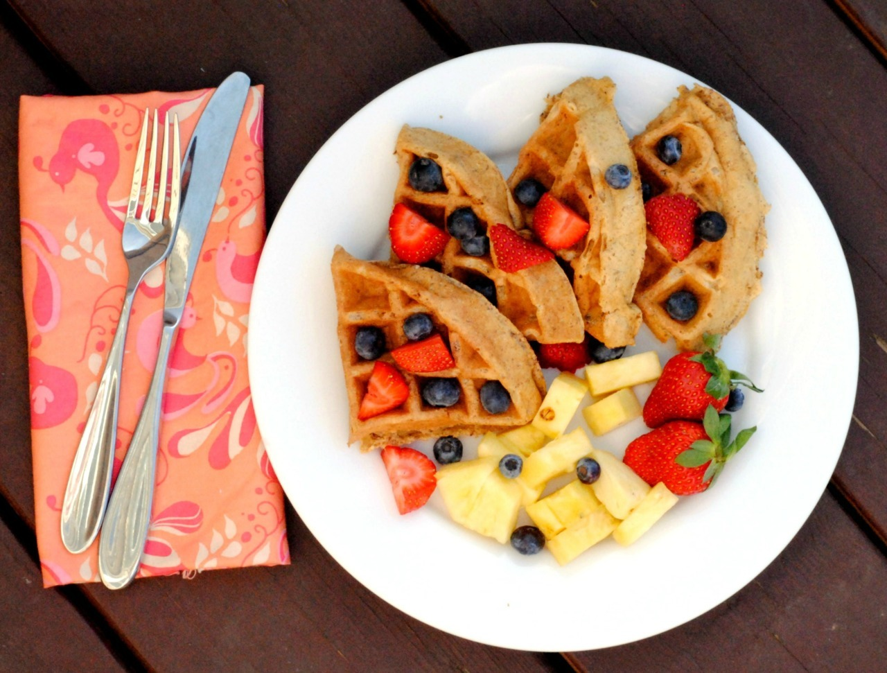 Strawberry, Banana, Fruit, Blueberry, Waffle
