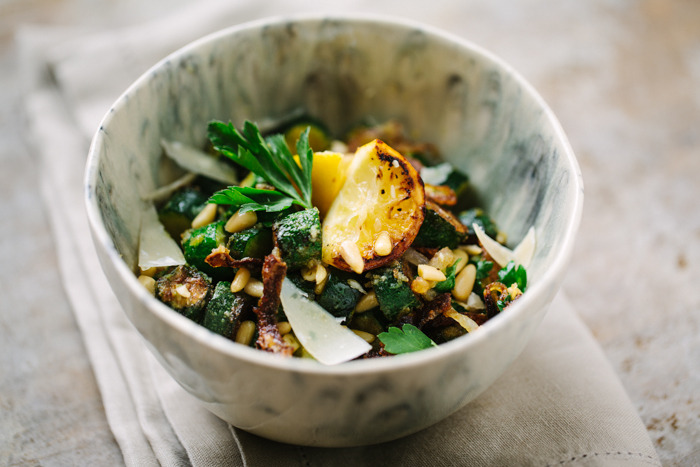 Zucchini Fritti Salad With Lemon, Parsley And Parmesan