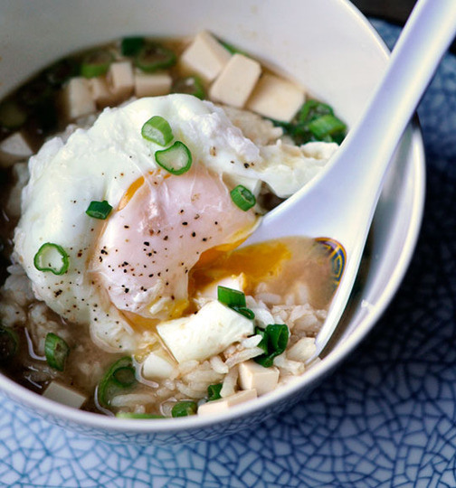 Miso Soup with a poached egg and broken rice