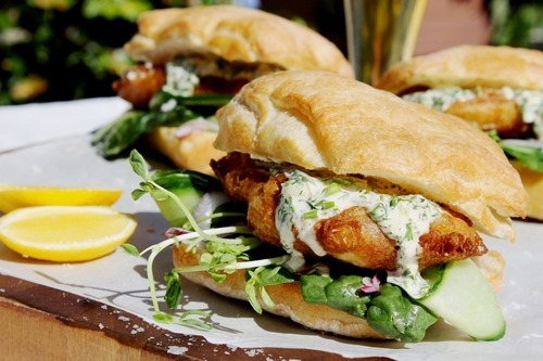Beer Battered Fish Burgers with Garlic Herb Mayo