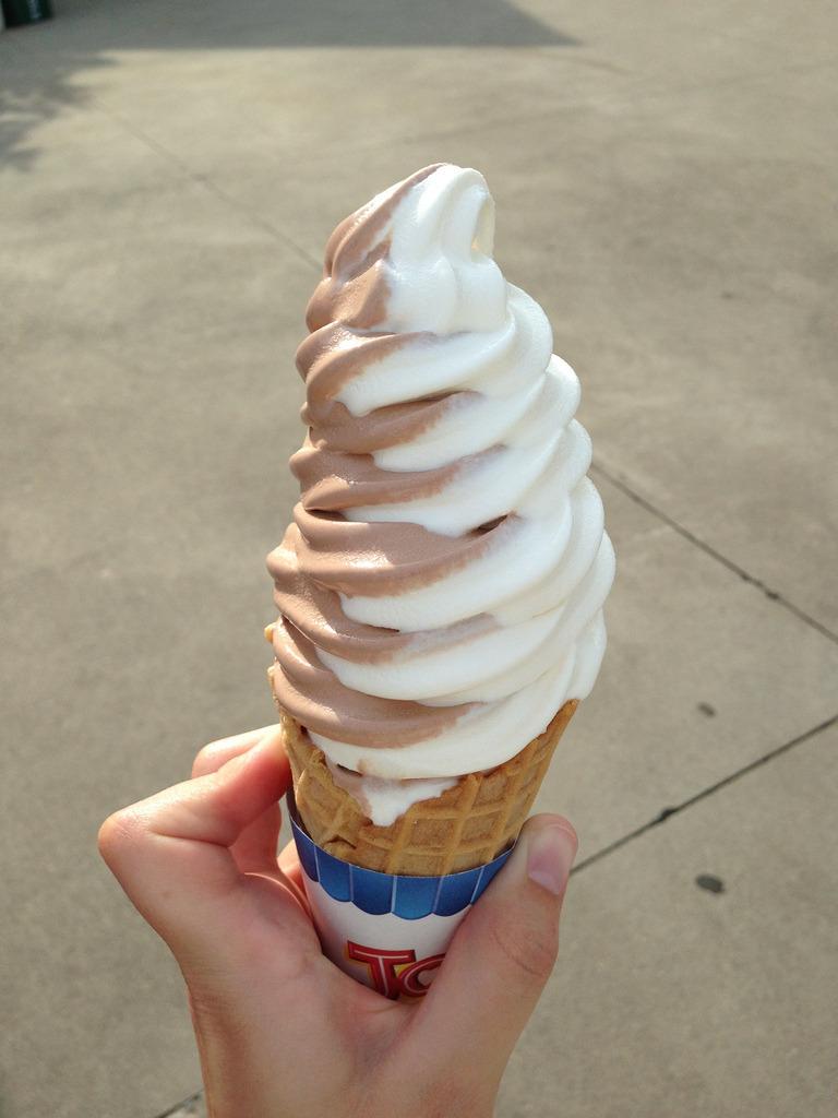 Vanilla & Chocolate Ice Cream Cone