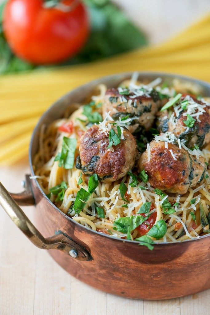 one pot spinash and turkey meatball pasta