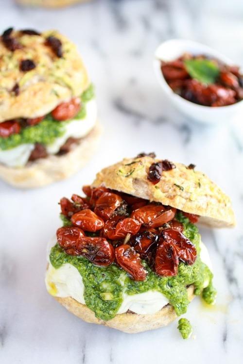 Pesto Portobello Mushroom, or Chicken, Burgers with Marinated Roasted Tomatoes