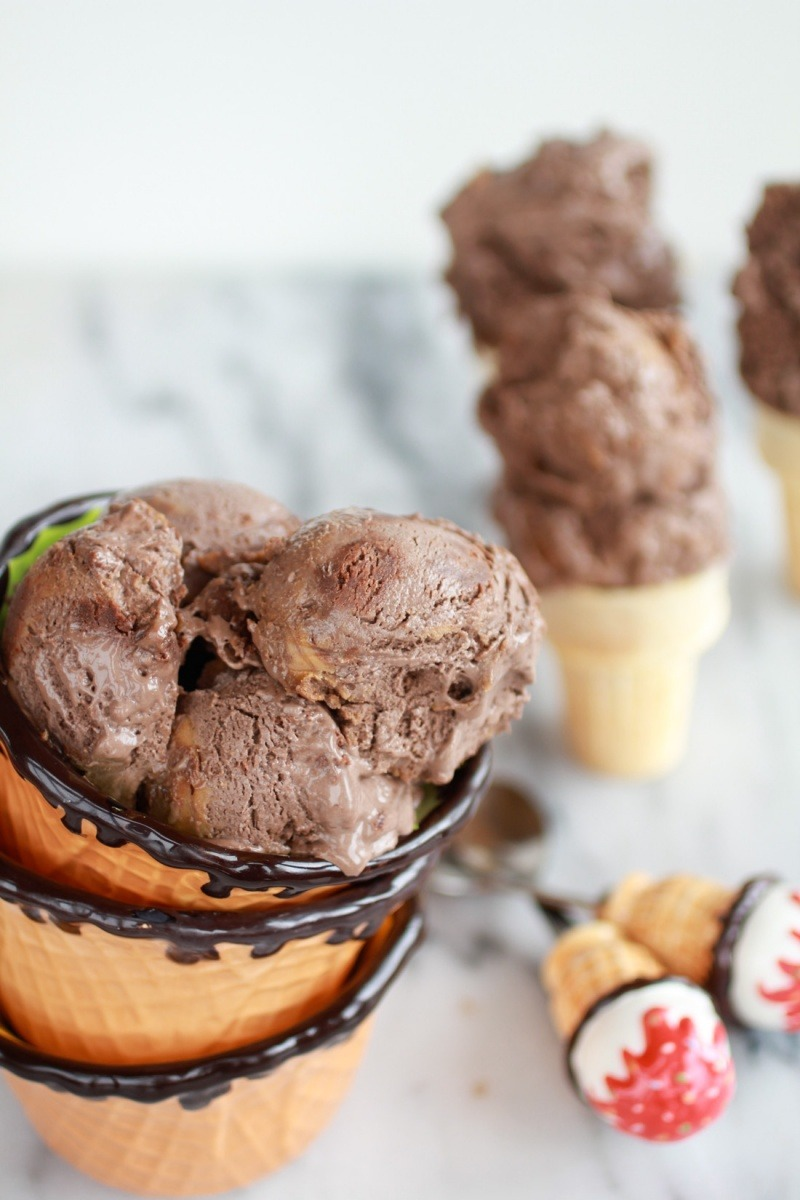 Chocolate Peanut Butter Swirl Fudge Brownie Ice Cream