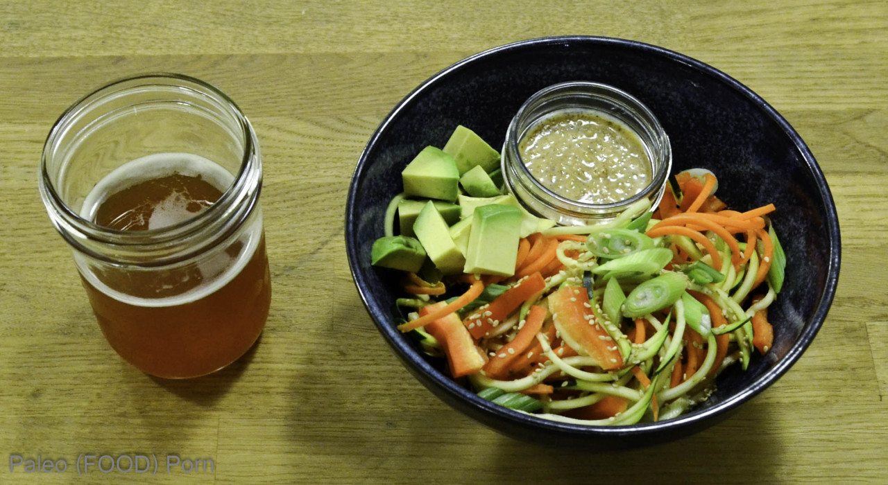 Spiralized Zucchini and Carrot with Sesame Lime Almond Butter Sauce. Photo by MV.