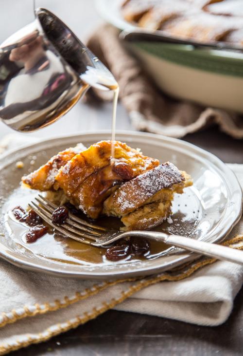 Pumpkin Bread Pudding w/ Maple Rum Raisin Syrup Jelly Toast