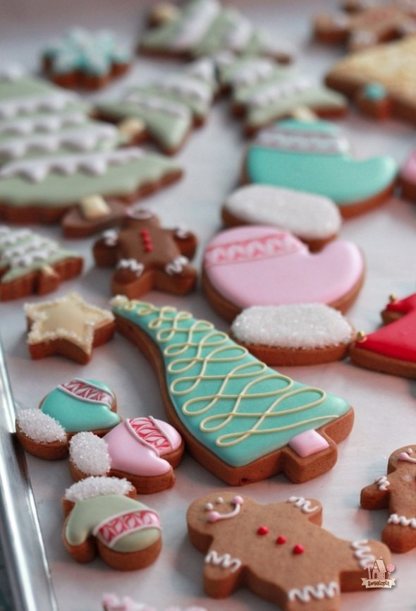 colorful christmas cookies.