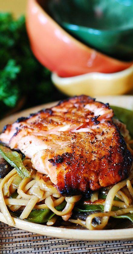 asian salmon & noodles