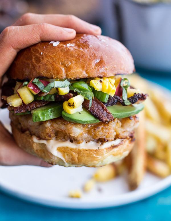 Lobster Burgers with Brown Butter Lemon Aioli, Basil Corn Salsa, Bacon and Avocado