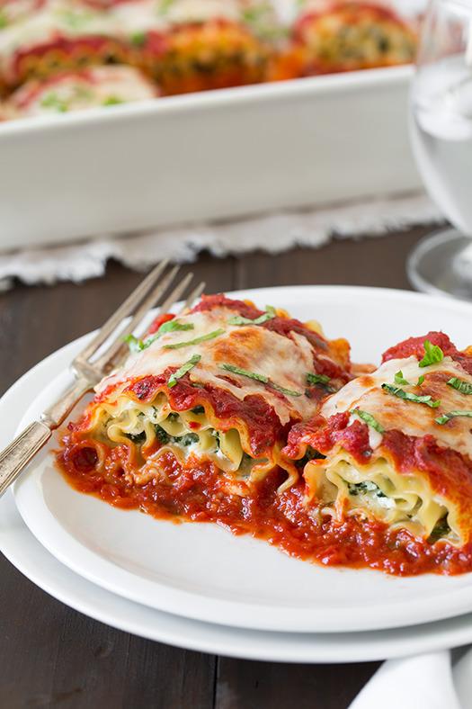 Spinach Four Cheese Lasagna Roll Ups