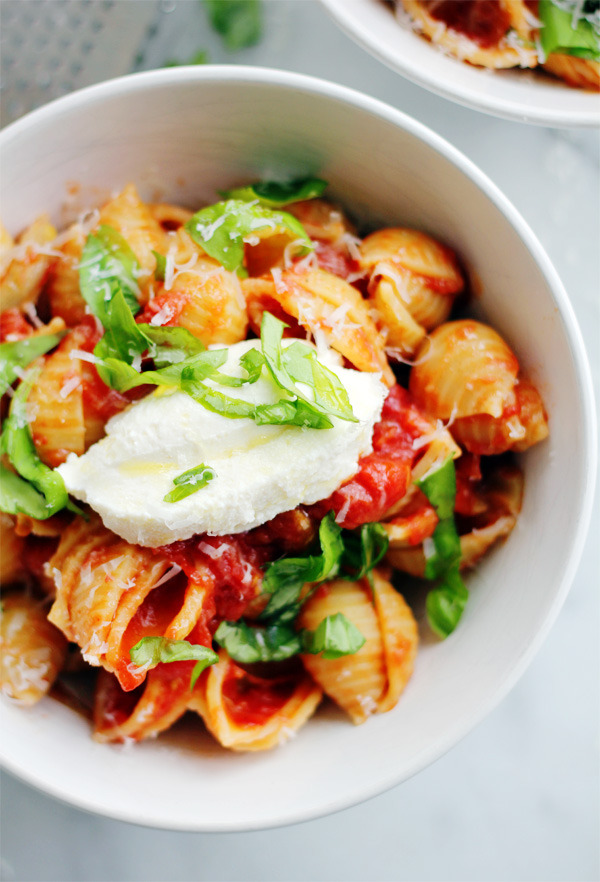 Baby Shells with Butter Roasted Tomato Sauce and Fresh Ricotta Clara Persis