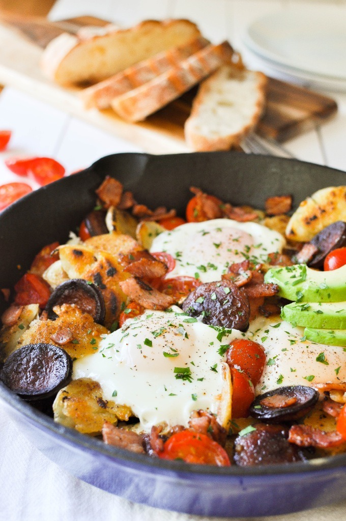 Chorizo and bacon smashed potato breakfast hash