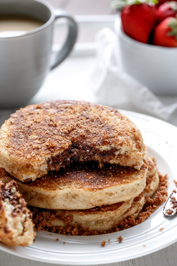 Nutella Stuffed Cinnamon Sugar Pancakes