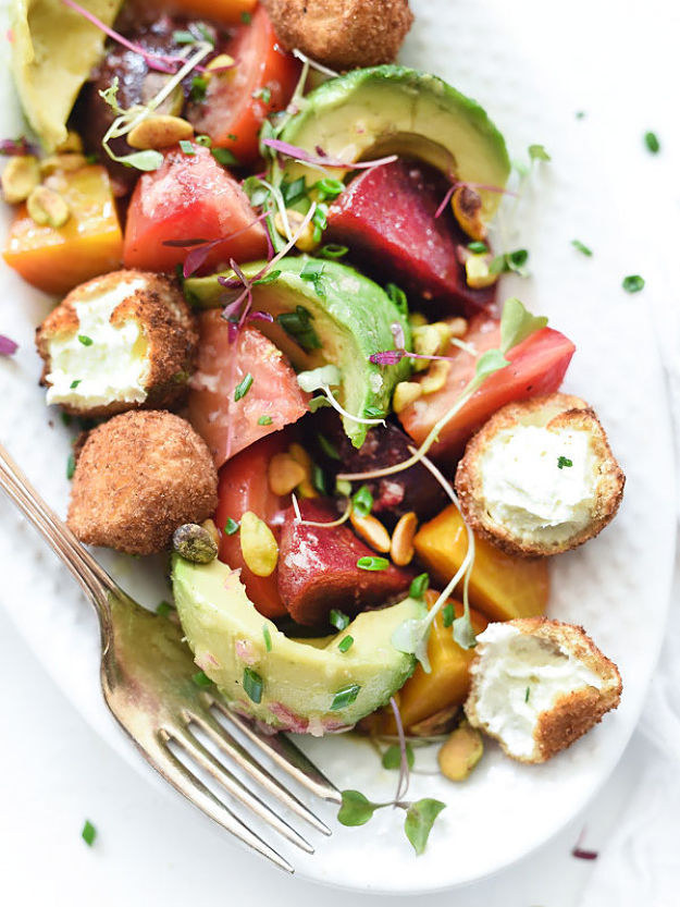 Beet, Avocado, and Fried Goat Cheese Salad Foodie Crush