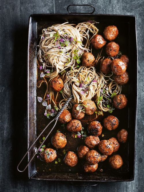 Sticky Sesame And Ginger Pork Meatballs With Soba NoodlesSource