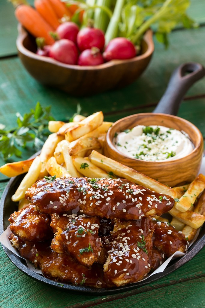 Baked Sesame Chicken Fingers and Fries