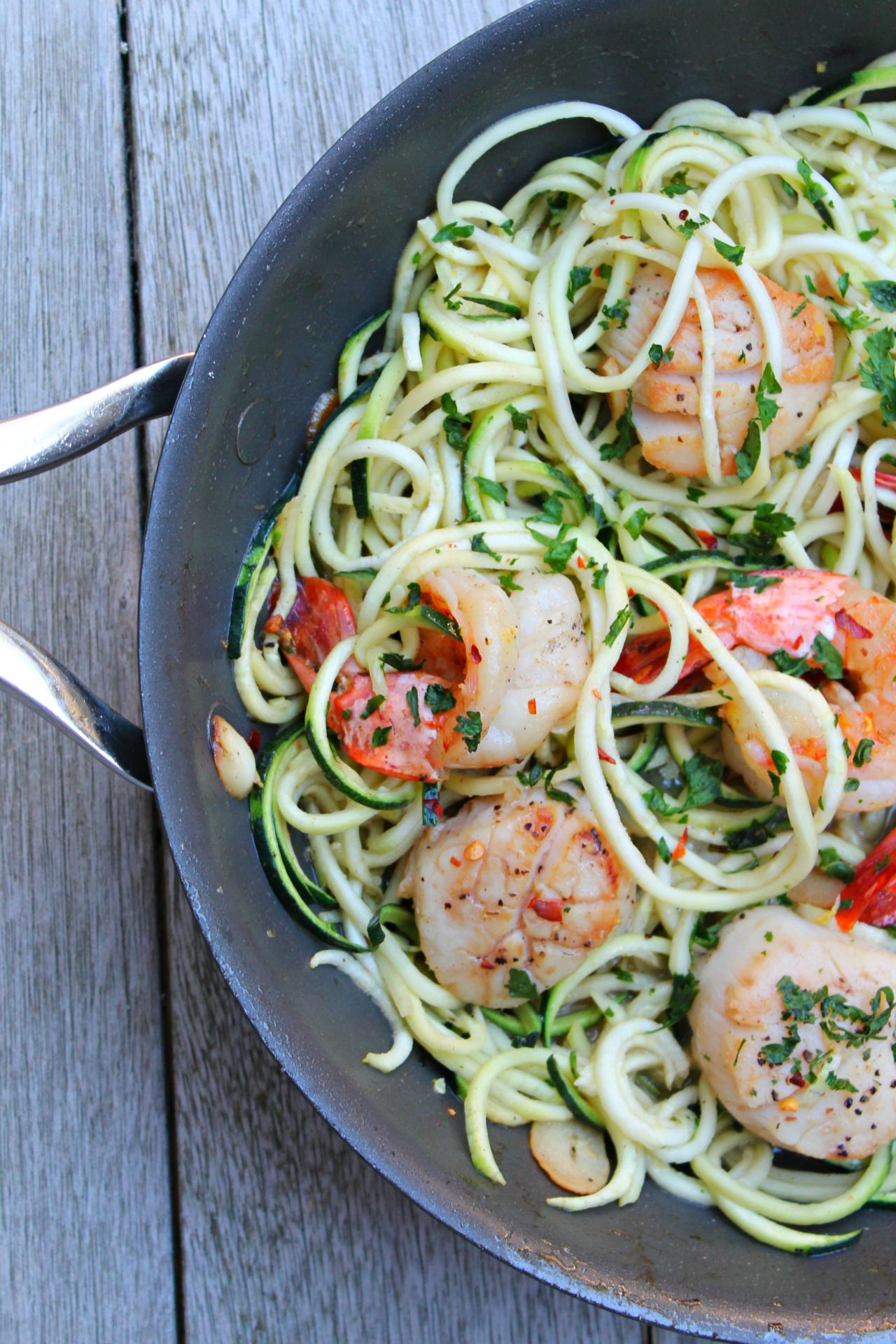 Shrimp and Scallop Scampi with Zucchini Noodles