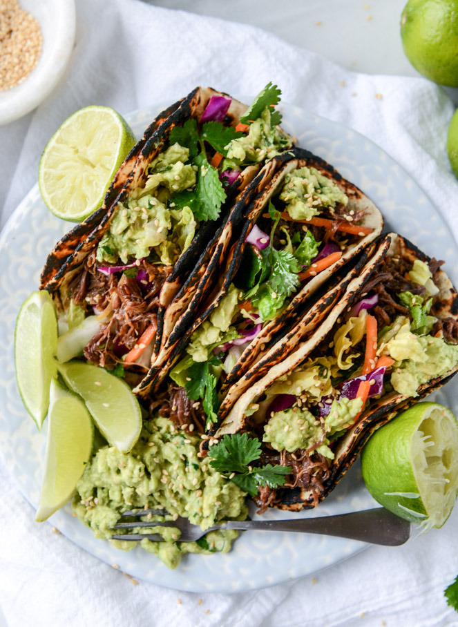 Slow Cooker Sweet and Spicy Short Rib Tacos with Sesame Guacamole