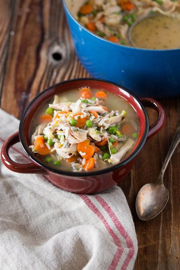 Chicken Wild Rice Soup with Leeks